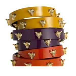 Tory Burch double wrap fox stud leather bracelet